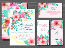 Beautiful Set Of Invitation Cards With Watercolor Flowers Elements And Calligraphic Letters Royalty Free Stock Photos