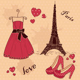 Beautiful set of 'From Paris with Love'. On a beige spotted background royalty free illustration