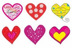 Beautiful set of romantic hearts. Royalty Free Stock Photos