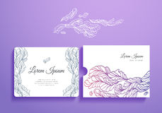 Beautiful set of romantic invitation and envelope Stock Photos