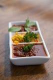 Beautiful set of sambal sauces. Royalty Free Stock Photos