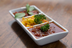Beautiful set of sambal sauces. Stock Image