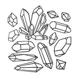 Beautiful set of sketch crystals Royalty Free Stock Photography