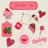 Beautiful Set of Strawberry Jam Design Elements Stock Photos