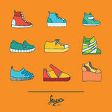 Beautiful set with stylish footwear - sneakers in various styles and shapes. Collection with different shoes in bright colors on o. Range background. Vector Stock Images