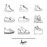 Beautiful set with stylish footwear - sneakers in various styles and shapes. Collection with different shoes in hand drawn black o Stock Photography