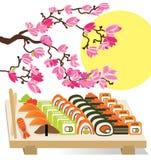Beautiful set of Sushi Japanese food under the Stock Photos