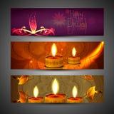 Beautiful set of three diwali headers royalty free illustration