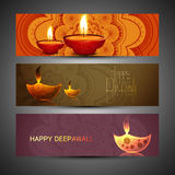 Beautiful set of three diwali headers  Royalty Free Stock Photography