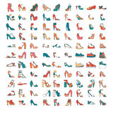 Beautiful set of various shoes and sandals, isolated on white background. Vector bundle with 99 different summer and spring female. Bautiful set of various shoes Royalty Free Stock Images