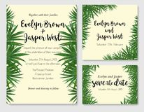 Beautiful set of wedding invitation cards with a picture of palm. Green leaves. Vector hand watercolor drawing of green foliage. Greeting cards, labels, banner Stock Photography