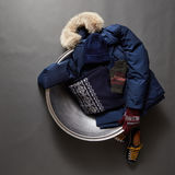 Beautiful Set of  winter male clothes Stock Photo