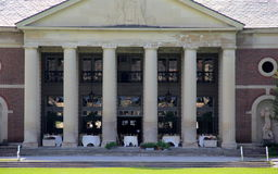 Beautiful setting of dining tables ready for reception,Hall of Springs, Saratoga,New York,2015. Beautiful architecture of historic buildings, with tables set Royalty Free Stock Photography