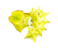 Beautiful setup of ripe vibrant starfruit slices isolated on whi Stock Photos