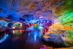The beautiful Seven Star cave with colorful lights and reflection at Seven-star Crags Scenic Area. Zhaoqing, China stock photo