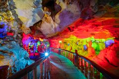 The beautiful Seven Star cave with colorful lights and reflection at Seven-star Crags Scenic Area. Zhaoqing, China royalty free stock image