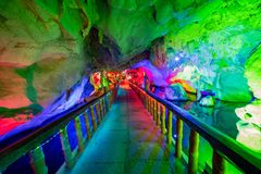 The beautiful Seven Star cave with colorful lights and reflection at Seven-star Crags Scenic Area. Zhaoqing, China royalty free stock photo