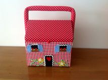 Beautiful sewing box. Imitating nice rural house Royalty Free Stock Image
