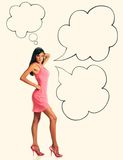 Beautiful sexual brunette in pink clothes side view Royalty Free Stock Photo