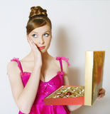 The beautiful sexual girl in a pink dress Royalty Free Stock Images