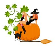 Beautiful sexual witch and pumpkin Stock Image