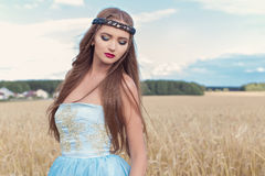 Beautiful sexualintelligance girl model in blue dress Stock Photo