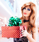 Beautiful sexy adult  woman with a birthday gift red box Stock Photography