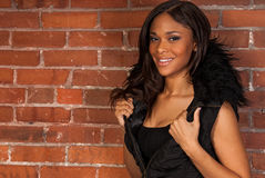 Beautiful Sexy African American Black Woman wearing casual black Stock Image