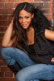 Beautiful African American Black Woman wearing casual black stock photography