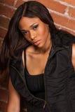 Beautiful African American Black Woman wearing casual black royalty free stock image