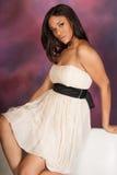 Beautiful Sexy African American Black Woman wearing white dress Stock Image