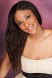 Beautiful African American Black Woman wearing white dress stock photo