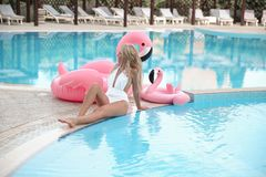 Beautiful amazing young woman in white bikini, resting by s. Wimming pool sits near inflatable pink flamingo and tanned, perfect body. Fashionable blonde model stock images
