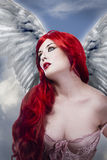 Beautiful sexy angel with wings Royalty Free Stock Image