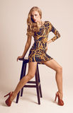 Beautiful sexy blond with long legs Royalty Free Stock Photography