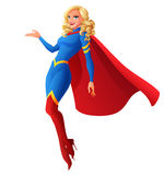 Beautiful sexy blond superhero woman flying and presenting. Vector illustration. Beautiful sexy blond superhero woman flying and presenting. Cartoon vector Stock Photo