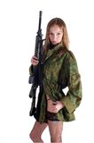 Woman with gun on white. Beautiful sexy blond woman holding army rifle Royalty Free Stock Images