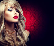 Beautiful sexy blond woman with long hair Stock Photography