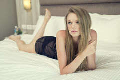 Beautiful sexy blonde woman in black lingerie Royalty Free Stock Photography