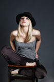 Beautiful sexy blonde woman with hat. Fashion art Stock Photo