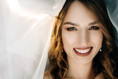 Beautiful bride in white dress posing under curtain. Smiling bride looks from under the veil stock image