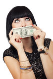 Beautiful sexy brunette with dollars Royalty Free Stock Image