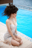 Beautiful Sexy Brunette Elegant Model Woman In Fashion Dress Wit