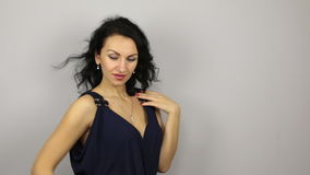 Beautiful sexy brunette flirting and pose stock video