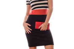 Beautiful brunette girl  with red purse posing in studio Stock Images