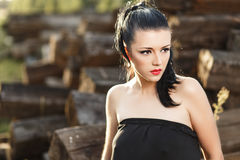Beautiful sexy brunette girl. In tight dress at sunset Royalty Free Stock Images