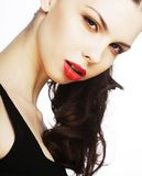 Beautiful brunette with red lips Stock Photos