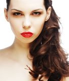 Beautiful brunette with red lips royalty free stock photo