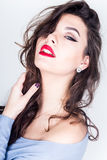 Beautiful Sexy Brunette with Red Lips Stock Image