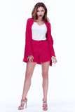 Beautiful sexy brunette woman business office style fashion clot. Hes summer collection perfect body shape pretty face makeup smile wear short pink jacket silk Royalty Free Stock Photography